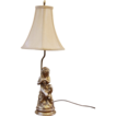 Gold Painted Porcelain & Brass Figural Cherub Lamp.