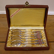Vintage Sterling Silver Souvenir Spoons, Frankfurt, Germany, Box set of 6.