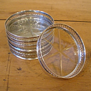 Vintage Webster Sterling Silver & Crystal Coasters, Set of Six.
