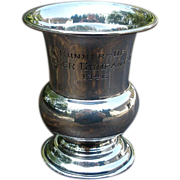 Small Vintage Sterling Silver Trophy, Runner-Up Cup. 1946