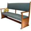 Antique English Carved Mahogany Upholstered Bench, Settle, Church Pew. FREE SHIPPING!*