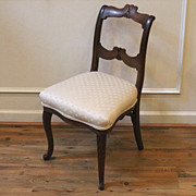 Antique American Ladies Upholstered Vanity, Side Chair.