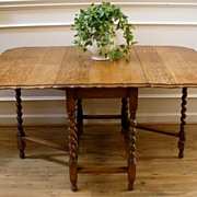 Antique English Oak Barley Twist Pie Crust Edge Drop Leaf Gate Leg Dining Table.