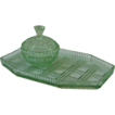 English Art Deco Green Glass Dresser Tray and Trinket Set.
