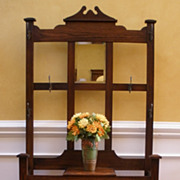 Antique English Oak Arts and Crafts Hall Stand