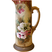 Antique Hand Painted Porcelin Tall Tankard, Pitcher, Jug.