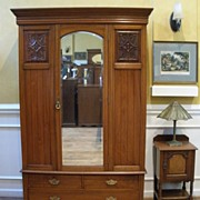 Antique English Carved Walnut Mirrored Wardrobe, Armoire.