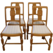English Oak Early Art Deco Dining Chairs. Set of 4.