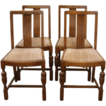 Antique English Oak Dining Chairs. Set of 4.