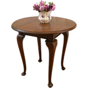 Antique Mahogany Round Queen Anne Leg Side, Center, Dining Table