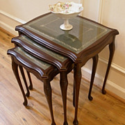 SOLD Vintage English Mahogany Leather & Glass Top Nesting Side Tables. Set of 3.