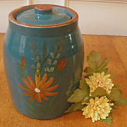 Vintage Hand Painted Stoneware 'Red Wing' Cookie Jar.