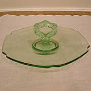 Vintage Green Depression Glass Tid Bit Tray Plate.