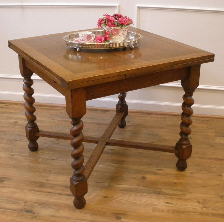 Antique English Oak Barley Twist Draw Leaf Extending Dining Pub Table.
