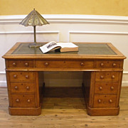 Large Antique English Oak Leather Top Knee Hole Desk. FREE SHIPPING!*