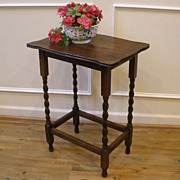 Antique English Oak Barley Twist Side Table. FREE SHIPPING!*