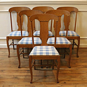 Antique American Oak Claw Foot Dining Chairs. Set of 6.