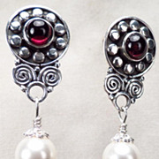 MORGAN LEFAY Earrings Garnet Silver Swarovski Crystal Pearl Celtic Medieval Style
