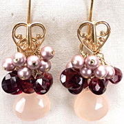 LOVE MEDICINE Earrings Garnet Pink Chalcedony Swarovski Crystal Pearl 24K GV