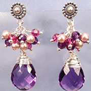 Anne Boleyn Wears Purple - Tudor Renaissance Style Earrings Amethyst Quartz Crystal