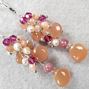 PEACH MELBA Earrings Peach Moonstone Rhodochrosite Cultured Freshwater Pearl Raspberry Crystal