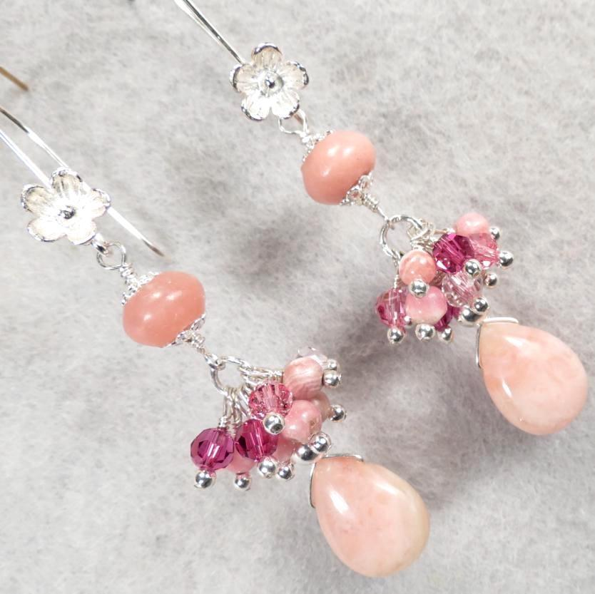The Great Inca Priestesses Earrings Rhodochrosite Pink Opal Silver