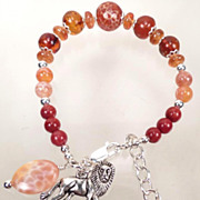 England My Lionheart Bracelet Baltic Amber Carnelian Spice Garnet Red Coral Lion Charm