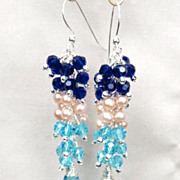 SALE ELEUTHERA Earrings Cobalt Aqua Crystal Pink Pearl Silver The Glass Window Bridge