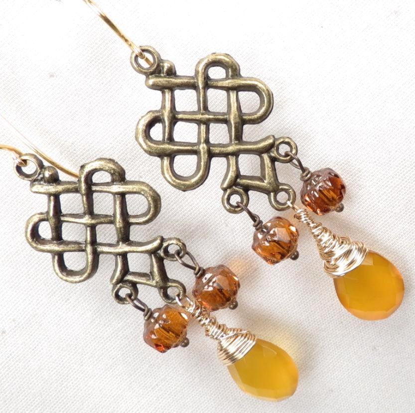 ALIENA Earrings Honey Chalcedony Czech Topaz Glass Chandeliers Medieval Style