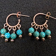 The Edge of the Gobi Earrings Chinese/Mongolian Turquoise 24K GV Hoops