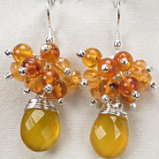 RUSSIAN HONEY Earrings Honey Chalcedony Baltic Amber Czech Art Glass