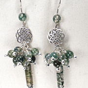 Lady of Shalott Linear Earrings Moss Agate Silver Celtic Medieval Style