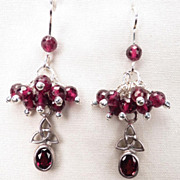 MORGAN LEFAY Earrings Garnet Cluster Celtic Medieval Style