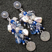 Arianrhod of the Silver Wheel Earrings Sapphire Kyanite Iolite Moonstone Pearl Crystal  Silver