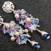 MELUSINE Earrings Medieval Water Enchantress Moonstone Amethyst Iolite Kyanite Aquamarine Silv