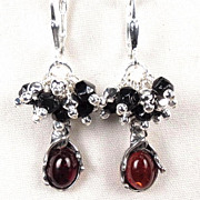 MORRIGAN Earrings Antique British Victorian Jet Cherry Amber Celtic Medieval Style