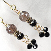 Shakespeare's Dark Lady Earrings Smoky Quartz Jet Crystal 24K GV Tudor Renaissance Style