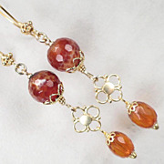 LADY FIREHEART Earrings Vintage Faceted Baltic Amber Spiderweb Carnelian Medieval Style