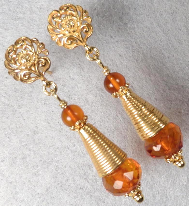 TSARINA Earrings Vintage Faceted Honey Amber Russian Medieval Style 24K GV