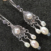 Tudor Renaissance Style Earrings Cultured Freshwater Pearl Chandelier Silver