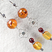 FREYA'S FLOWERS Earrings Honey Cherry & Lemon Amber Silver Norse Medieval Style
