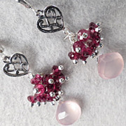 LOVE MEDICINE Earrings Pink Chalcedony Rhodolite Garnet Silver