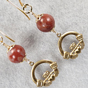 CLADDAGH Earrings Irish Cork Red Marble