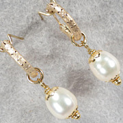 SOLD TUDOR PEARL Hoop Earrings Cultured Freshwater Pearl 14K GF Tudor Renaissance Style