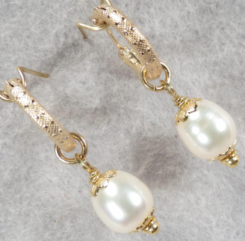 TUDOR PEARL Hoop Earrings Cultured Freshwater Pearl 14K GF Tudor Renaissance Style
