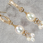 SOLD TUDOR PEARL Hoop Earrings 2 Cultured Freshwater Pearl 14K GF Tudor Renaissance Style