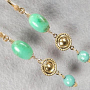 SOLD QUEEN of SHEBA Earrings Chrysoprase African Green Opal Medieval Style