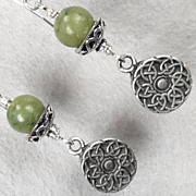 ISOLDE Earrings Irish Connemara Marble Celtic Medieval Style Pewter & Silver