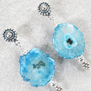 SEA PRIESTESS Blue Solar Quartz Post Earrings