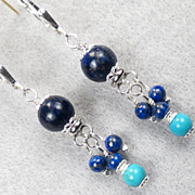 Dawa of the Skies Earrings Lapis Turquoise Silver Tibetan Style